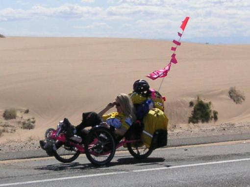 Fully loaded crossing the desert.