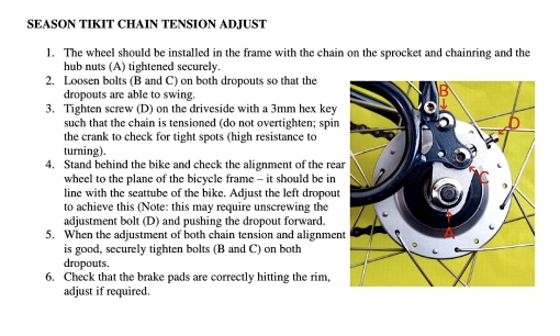 How to adjust the Seasons Tikit's Chain