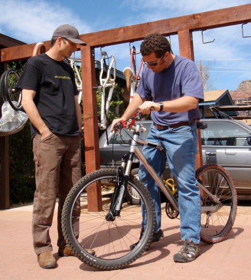 Dave helping a customer setup his bike.