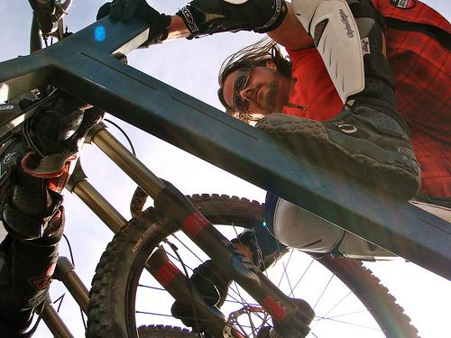 Kurt making sure his bike is well secured in the shuttle truck.