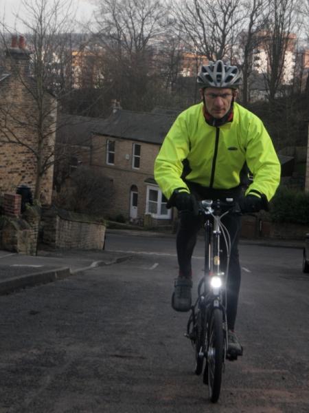 Gareth riding his new Bike Friday Tikit