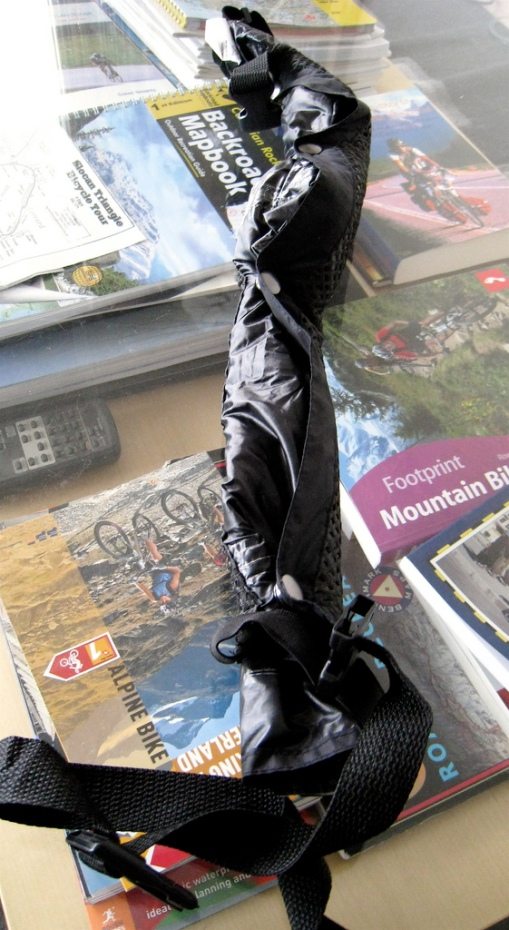 Rain Legs rolled up...they can be worn around your waist ready for quick deployment or tossed in a pannier.