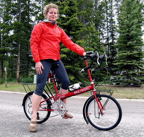 Amy aboard her new red rocket Bike Friday!
