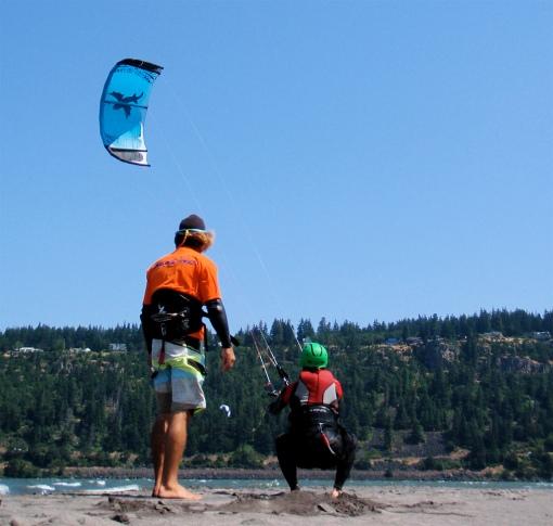 Kurt practices power strokes on the sand bar...