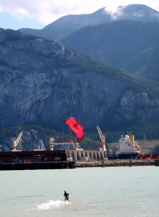 Riding away from the Squamish spit....