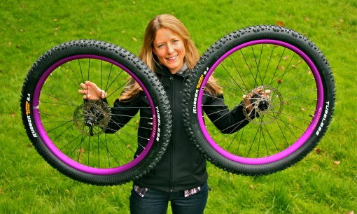 Sharon with her new bike bling...