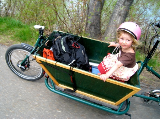 Fiona co-piloting the family CETMA cargo bike...