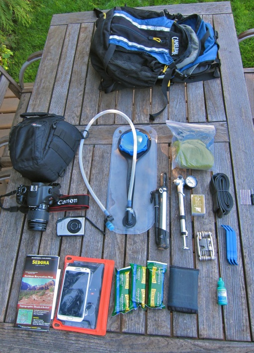 My MTB backpack load...