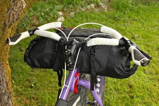 Rider's eye view of bar bag...